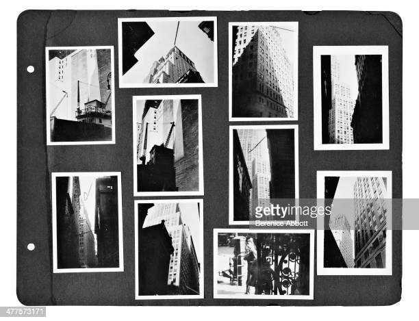 A page from a Berenice Abbott photo album depicting New York City New York circa 1930