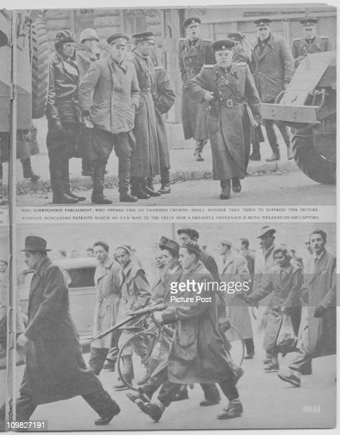 A page from a feature in Picture Post magazine on the Hungarian Uprising Budapest November 1956 The picture shows Russian troops and anticommunists...