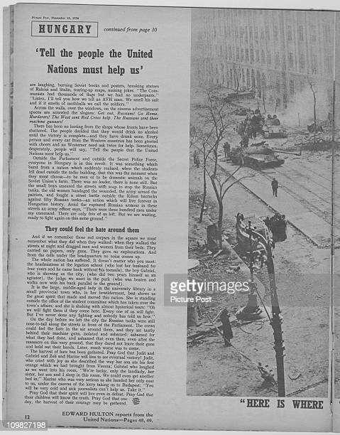 A page from a feature in Picture Post magazine on the Hungarian Uprising Budapest November 1956 The picture shows a knocked out Russian tank Original...