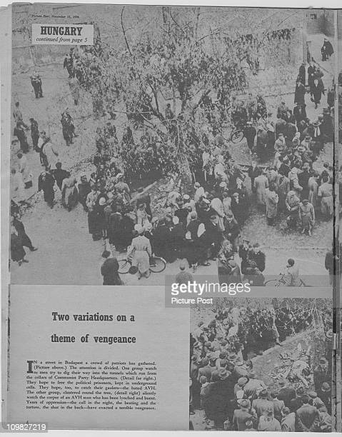 A page from a feature in Picture Post magazine on the Hungarian Uprising Budapest November 1956 The picture shows anticommunists trying to access...