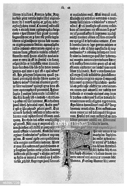 Page from a Gutenberg Bible c1455 Johann Gutenberg is regarded as the inventor of movable type In 1455 he produced the first large printed book the...