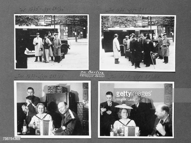 A page from a photo album documenting German atrocities in occupied Poland during World War II The pictures show members of the Gestapo in Berlin...