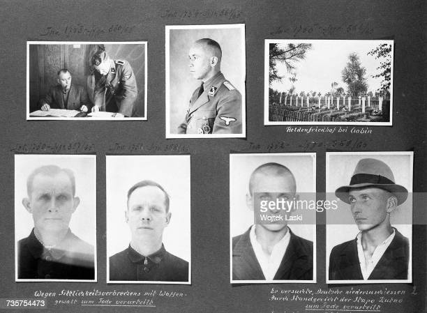 A page from a photo album documenting German atrocities in occupied Poland during World War II The pictures show the compiler of the album SS...