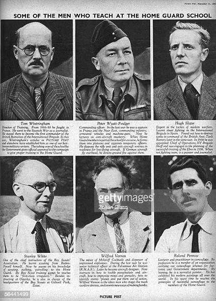 Page from a Picture Post article by Tom Wintringham showing the six men responsible for training the British Home Guard at the organisation's...