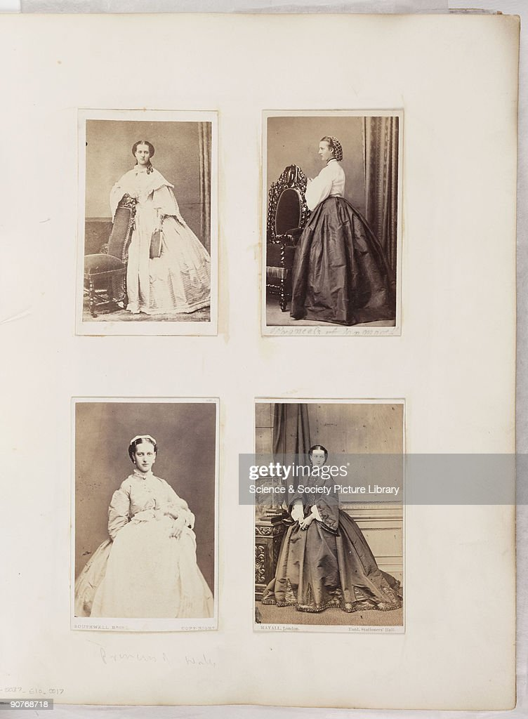 A Page From Victorian Photograph Album Mounted With Carte De Visite Portraits Of