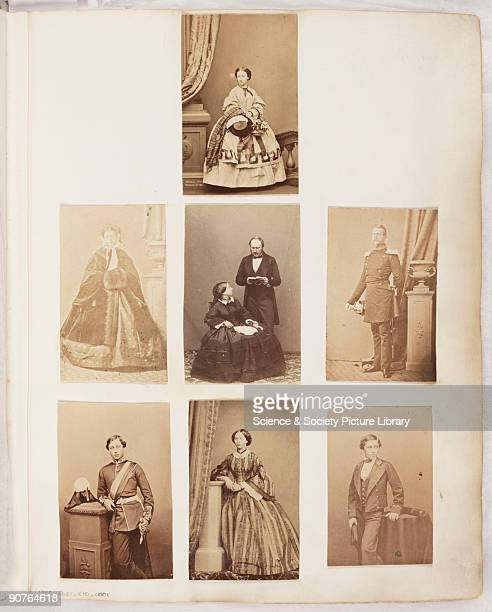 A page from a Victorian photograph album mounted with portraits of members of the Royal Family including Queen Victoria and Prince Albert who appear...