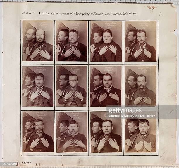 A page from an album of criminal register photographs taken by a unknown photographer at Wormwood Scrubs prison in about 1890 The criminals hold up...