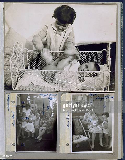 A page from Anne Frank's photo album containing three photographs of Anne as a baby with family members and friends Frankfurt am Main Germany