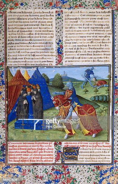Page from Le Livre de Lancelot du Lac 15th century At top right Lancelot holds the decapitated head of Sir Agravain Knight of the round table who...
