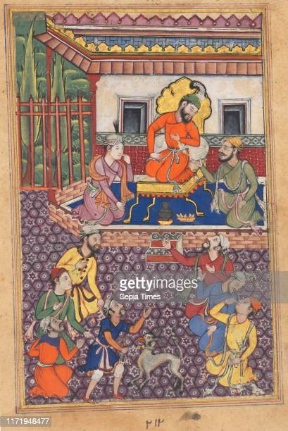 Page from Tales of a Parrot : Forty-sixth night: The court of the Raja of Ujjain, c. 1560. India, Mughal, Reign of Akbar, 16th century. Opaque...