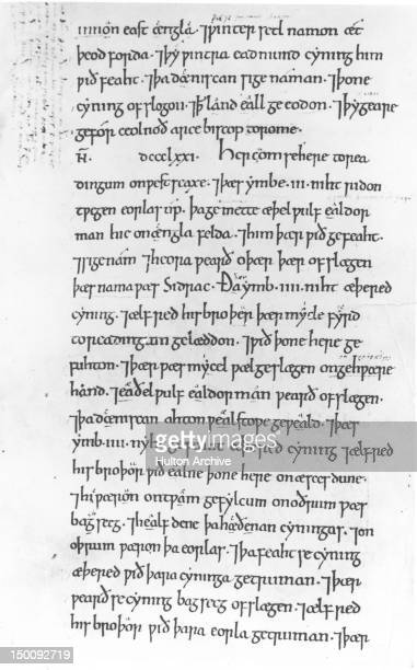 A page from the 'AngloSaxon Chronicle' in AngloSaxon or Old English telling of King Aethelred I of Wessex and his brother the future King Alfred the...