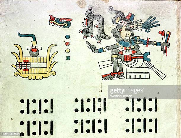 Page from the Codex Fejervary Mayer A minor planetary deity is shown with bar and dot numerical system of the Aztecs Mexico Mixtec style before 1521