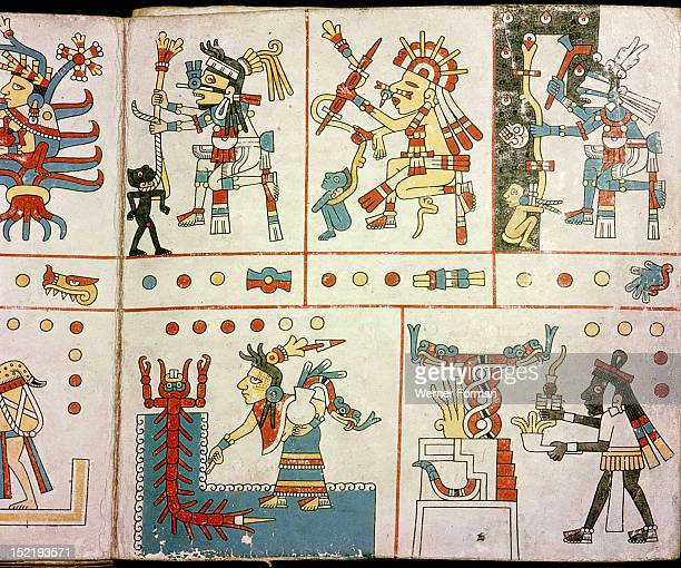 Page from the Codex Fejervary Mayer a ritual codex used as a birth chart It has scenes devoted to birth and human behaviour The bottom right panel...