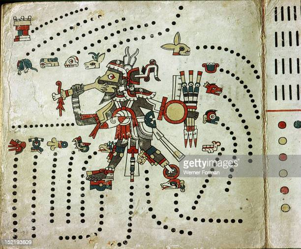 Page from the Codex Fejervary Mayer It shows Tezcatlipoca identified by his missing foot and his essential connections with war and sacrifice He is...