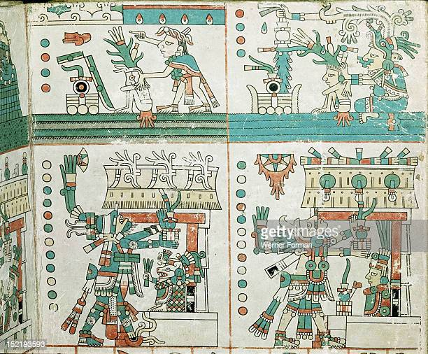 Page from the Codex Fejervary Mayer Top panel depicts the fortunes of the maize plant during the first two years of a four year period In the first...