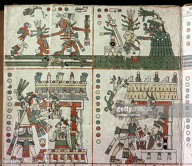 Page from the Codex Fejervary Mayer Top panel depicts the fortunes of the maize plant during the last two years of a four year period In the third...