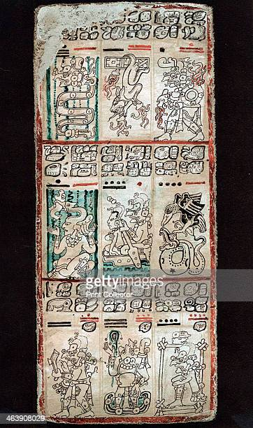 Page from the Dresden Codex Maya manuscript Chromolithograph of a page showing a section of a 'tonalamatl' a sacred season of 260 days The god...