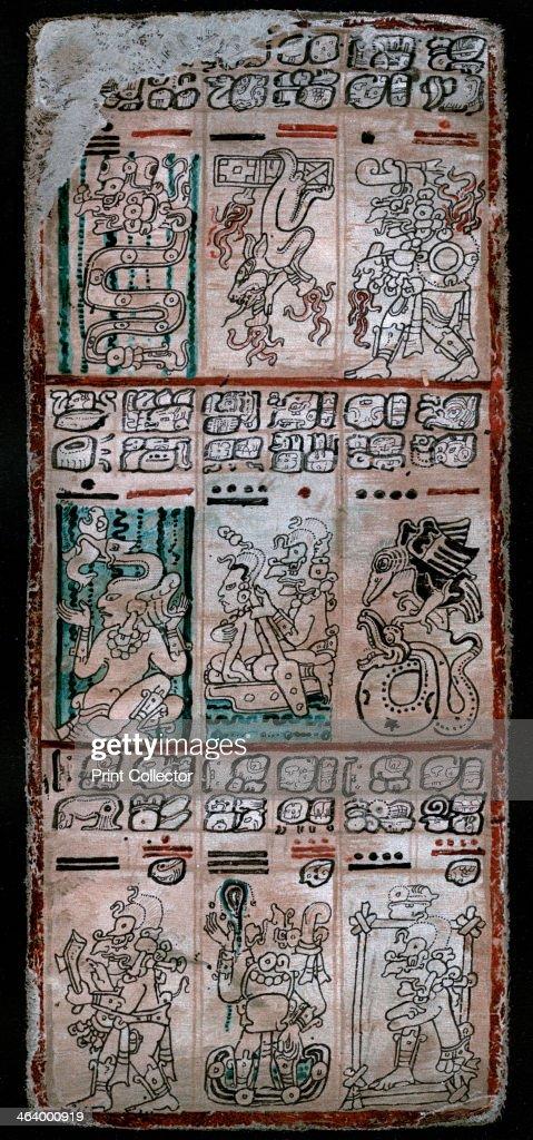 A page from the Dresden codex, Maya manuscript, 1901. : News Photo