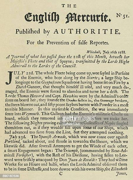 Page from The English Mercuriea literary hoax purporting to be the first English newspaper The text gives an account of the English battle with the...