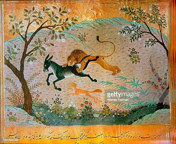 A page from the fables Kalila and Dimna in which the jackal tries to persuade the lion to stop devouring the beast and to devote himself to pious...
