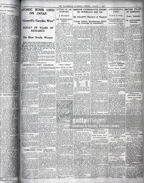 Page from The Guardian announcing the dropping of atomic bombs on Japan