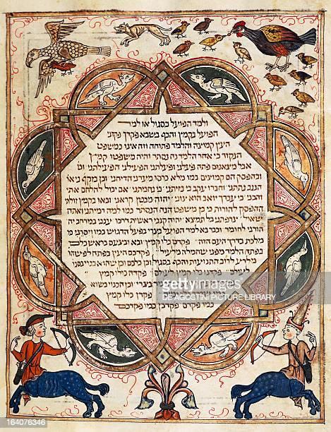 Page from the Hebrew Bible illuminated by Joseph Assarfati manuscript by Cervera 1299 Spain 13th century Lisbon Biblioteca Nacional