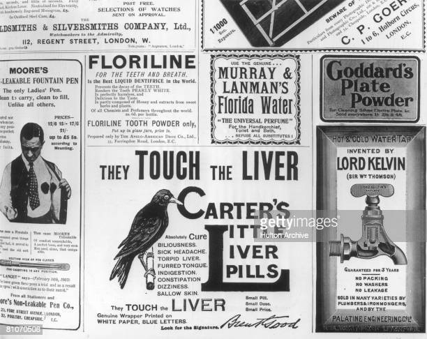 A page from the Illustrated London News advertising Carter's Little Liver Pills Floriline and Murray Lanman's Florida Water amongst other things 12th...