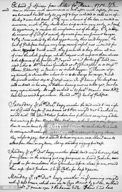 A page from the journal of John Newton 17501754 John Newton was a slave trader from 17501754 but he later became a priest and abolitionist A print...