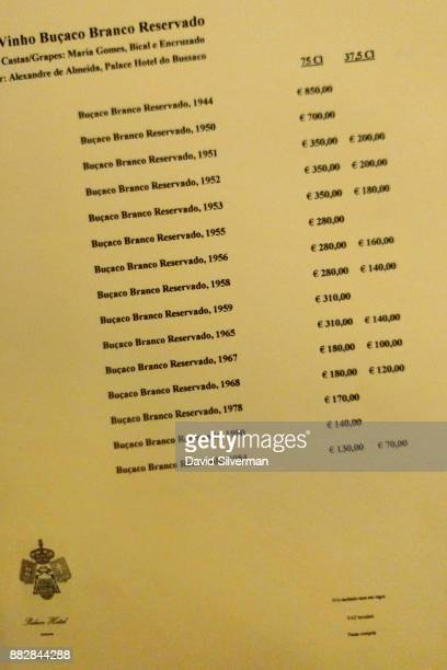 A page from the menu of the Bussaco Palace hotel restaurant offers Bucaco Branco Reservado reserve vintage white wines dating back as far as 1944 at...