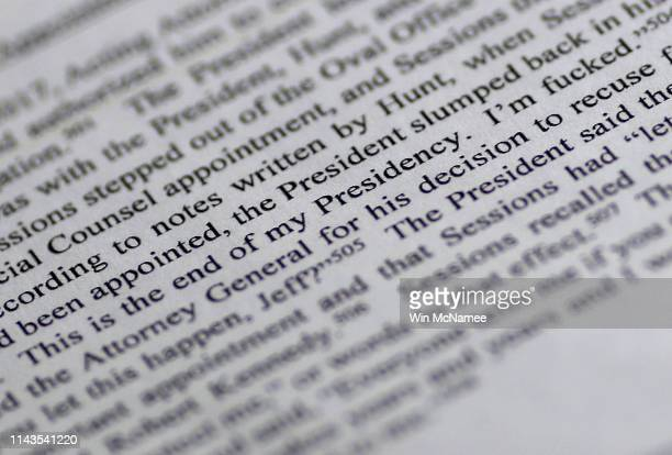 A page from the recently released Mueller Report is shown April 18 2019 in Washington DC According to a person interviewed by Mueller's team in...