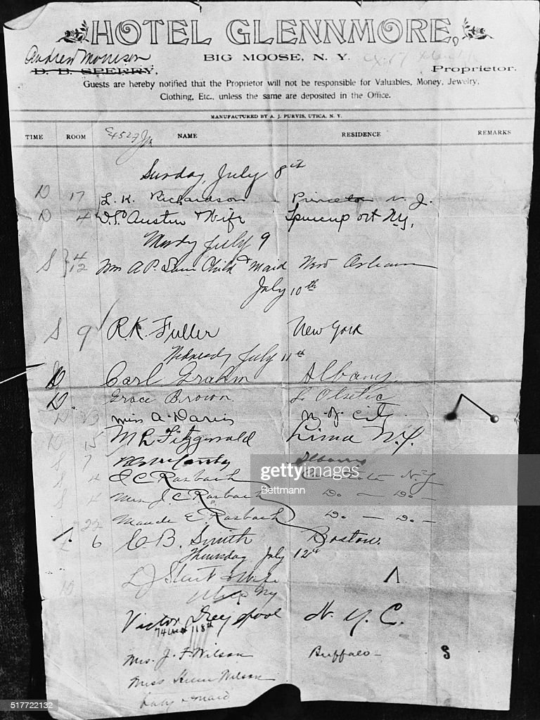 Page From The Registry Book For Glenmore Hotel At Moose Lake Where Chester Gillette