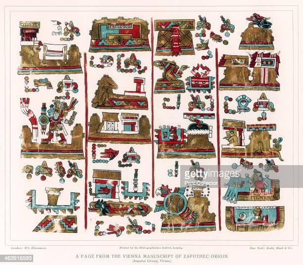 Page from the Vienna Nahua manuscript of Zapotec origin Mexico
