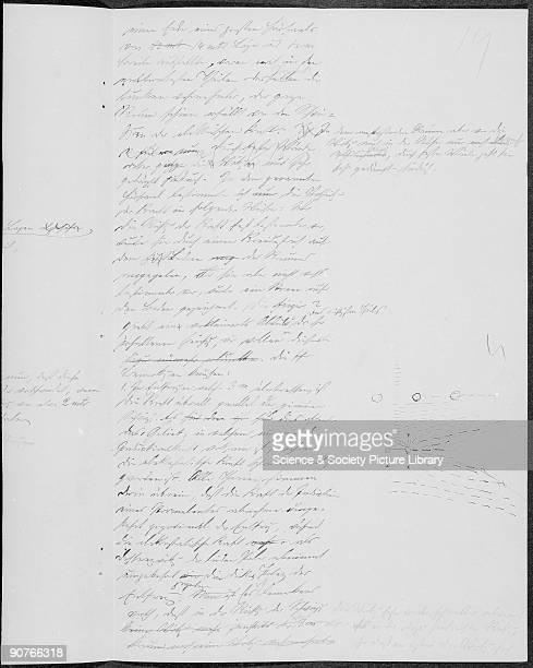Page from �Uber die Einwirkung einer geradlinigen Schwingung auf eine benachbarte Strombahn� published in 1888 It appears to be final draft of the...