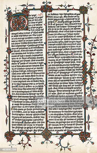 Page from Wycliffe's translation of the Bible into English c1400 The bygynynge of ye gospel of Jesus Christ ye sone of God John Wycliffe English...