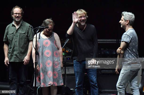 Page McConnell Jon Fishman Trey Anastasio and Mike Gordon of Phish perform at 'The Baker's Dozen' Tour KickOff at Madison Square Garden on July 21...