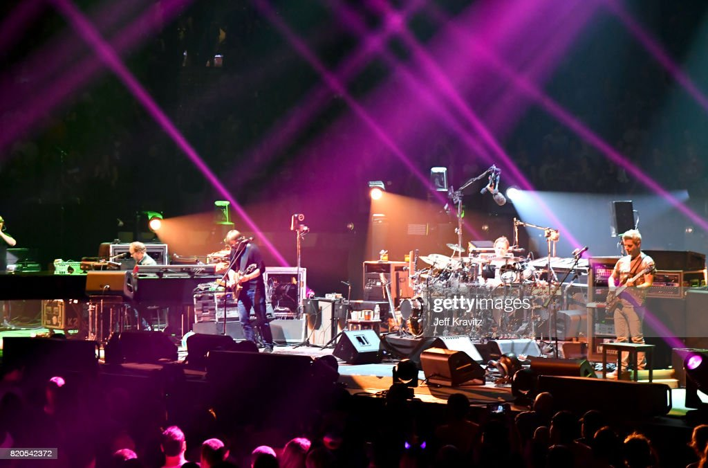 Page McConnell, Jon Fishman, Trey Anastasio and Mike Gordon of Phish perform at 'The Baker's Dozen' Tour Kick-Off at Madison Square Garden on July 21, 2017 in New York City.