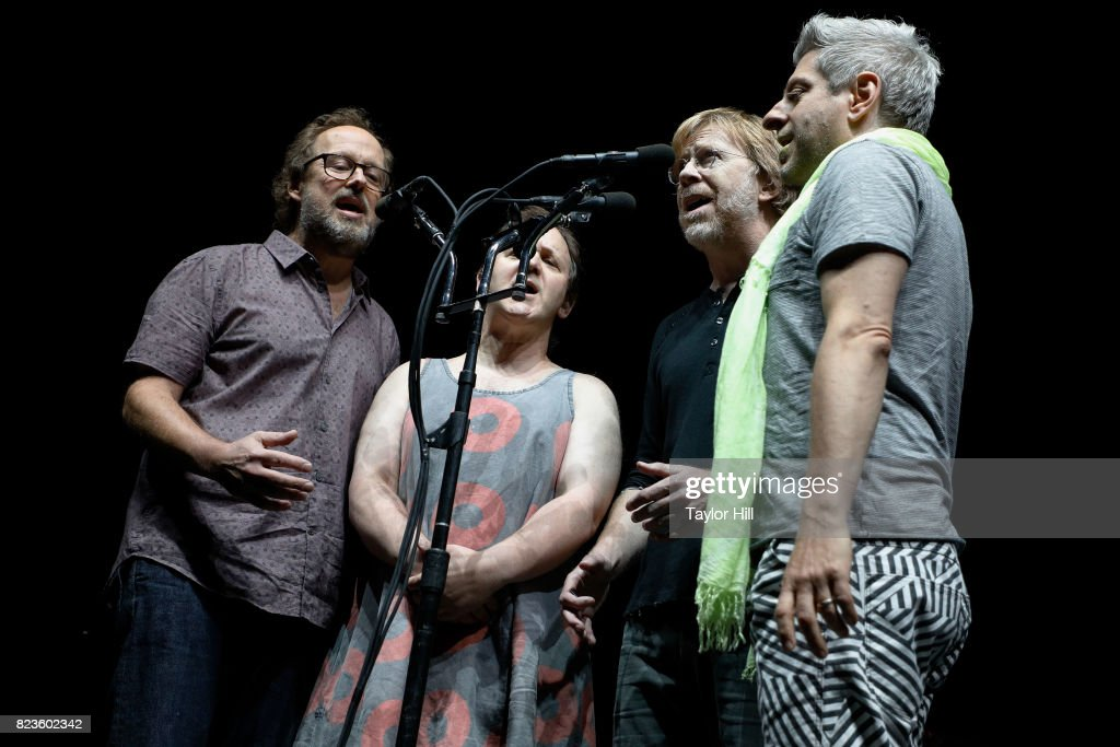 Page McConnell, Jonathan Fishman, Trey Anastasio, and Mike Gordon of Phish perform during 'The Baker's Dozen' Night 5 at Madison Square Garden on July 26, 2017 in New York City.