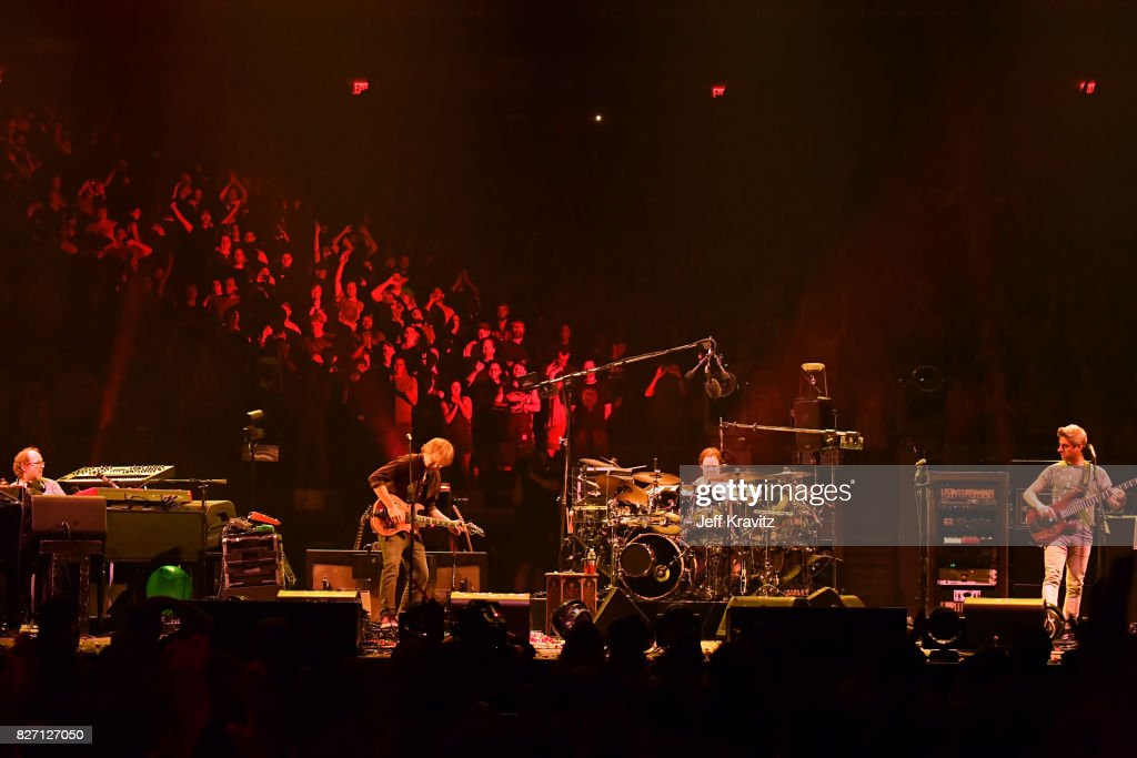 Page McConnell, Trey Anastasio, Jon Fishman and Mike Gordon of Phish perform during 'The Baker's Dozen' Closing Night at Madison Square Garden on August 6, 2017 in New York City.