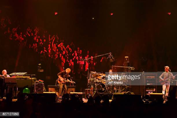 Page McConnell Trey Anastasio Jon Fishman and Mike Gordon of Phish perform during 'The Baker's Dozen' Closing Night at Madison Square Garden on...