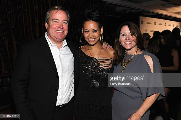 Page Murray HP VP of Marketing Anya AyoungChee and Laura Murray attend HP Project Runway Designer Reunion at Empire Hotel on September 10 2011 in New...