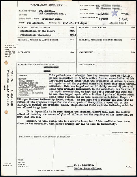 Hospital discharge summary for lung cancer patient, 1965. Pictures ...