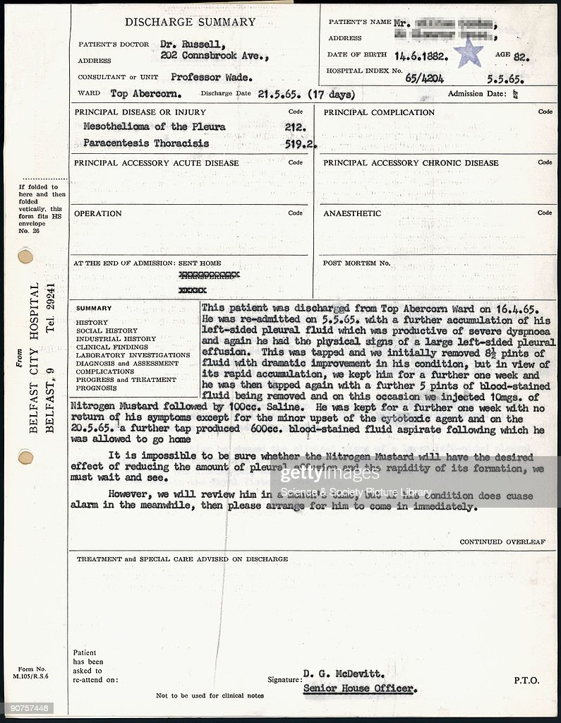 Page Of A Belfast City Hospital Discharge Summary For W G Case Number 46 In  Dr P C