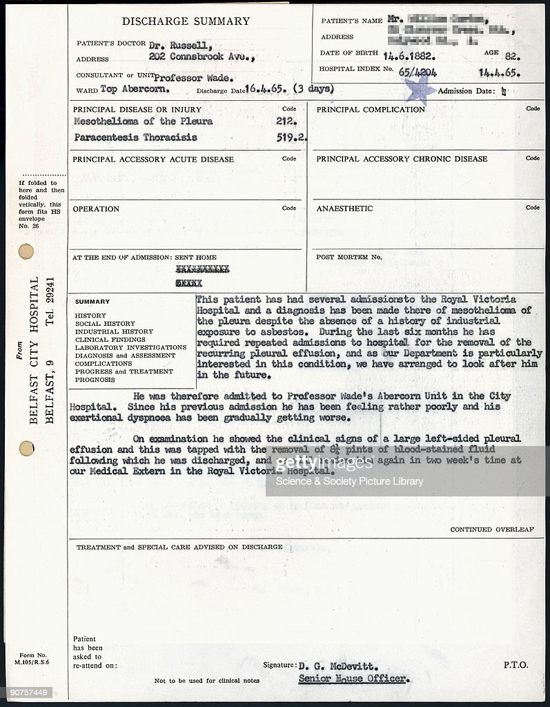 Page Of A Belfast City Hospital Discharge Summary For W G, Case Number 46  In Dr