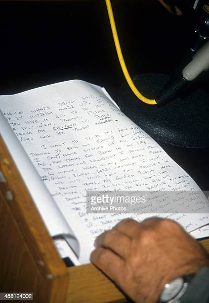 Page of one of three letters written by O.J. Simpson are read by friend Robert Kardashian during a news conference at the Century City office of...