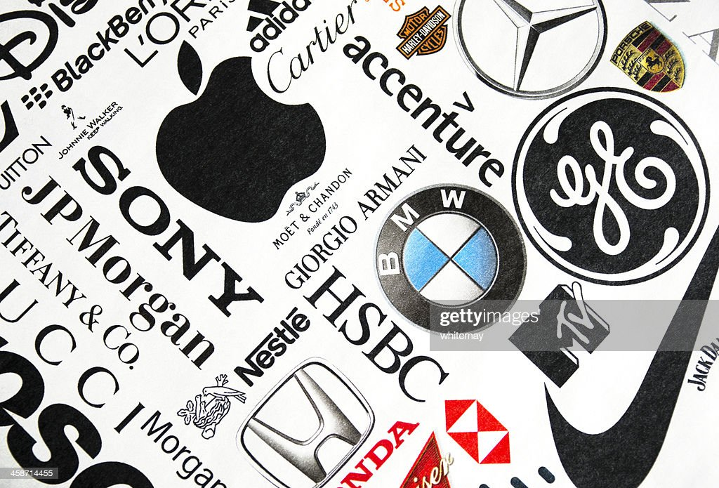Page of printed brand names : Stock Photo