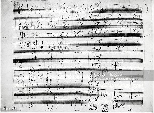 Page of Symphony No 7 in A major Op 92 by Ludwig van Beethoven Krakov Muzeum Uniwersytetu Jagiellonskiego