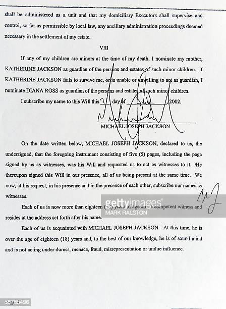 A page of the 2002 will of music legend Michael Jackson that was filed at Los Angeles Superior Court in Los Angeles on July 1 2009 Documents filed in...
