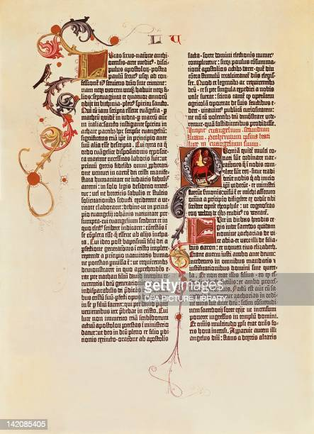 Page of the Bible of 42 lines printed by Johann Gutenberg 15th Century