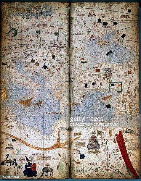 Page of the Catalan atlas by Charles V of France ca 1375 attributed to Abraham Cresques parchment on wood 64x25 cm 14th century Paris Bibliothèque...