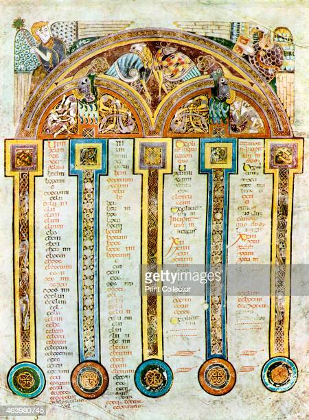 Page of The Eusebian Canons, c800 AD, . A 20th-century copy of the illustrated manuscript, produced by Celtic monks around AD 800. Illustration from...